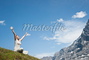 Woman with Raised Arms, Bernese Oberland, Switzerland Stock Photo - Premium Royalty-Free, Artist: Uwe Umstätter, Code: 600-05452095
