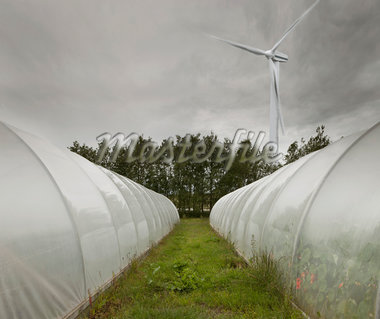 Computer Composite of Wind Turbine and Greenhouses, Iceland Stock Photo - Premium Royalty-Free, Artist: Atli Mar Hafsteinsson, Code: 600-05524159