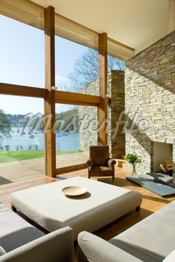 Large windows in modern living room Stock Photo - Premium Royalty-Freenull, Code: 635-05550606