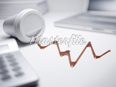 Coffee dripped in shape of graph Stock Photo - Premium Royalty-Freenull, Code: 635-05551079
