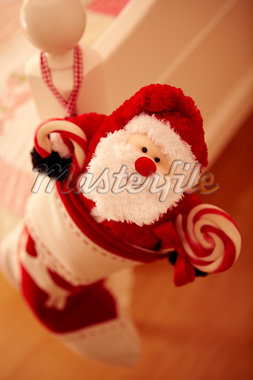 Close up of Christmas stocking hanging from bed Stock Photo - Premium Royalty-Freenull, Code: 635-05551098