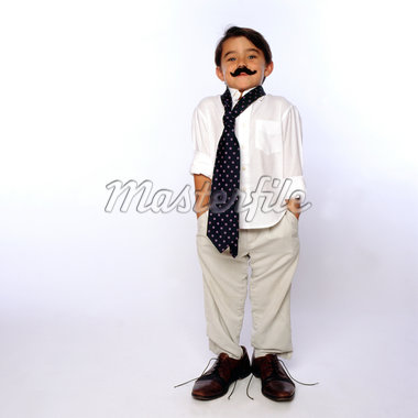 Boy Wearing Fake Moustache and Oversized Man's Clothing Stock Photo - Premium Rights-Managed, Artist: ableimages, Code: 822-05554903