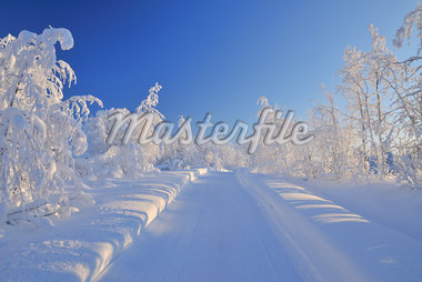 Snowy Road, Liikasenvaara, Northern Ostrobothnia, Finland Stock Photo - Premium Royalty-Free, Artist: Raimund Linke, Code: 600-05610020