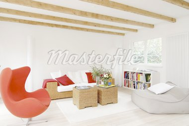 Modern bright living room with armchair Stock Photo - Premium Royalty-Freenull, Code: 689-05612336