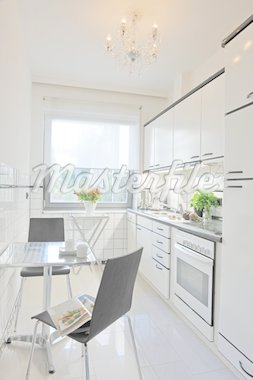 Kitchen with dining area Stock Photo - Premium Royalty-Freenull, Code: 689-05612433