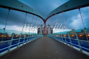 Lowry Bridge at Dusk, Salford Quays, Salford, Greater Manchester, England Stock Photo - Premium Rights-Managed, Artist: Jason Friend, Code: 700-05641991