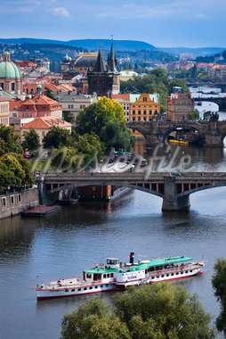 Bridges Over Vltava River, Prague, Czech Republic Stock Photo - Premium Rights-Managed, Artist: R. Ian Lloyd, Code: 700-05642355