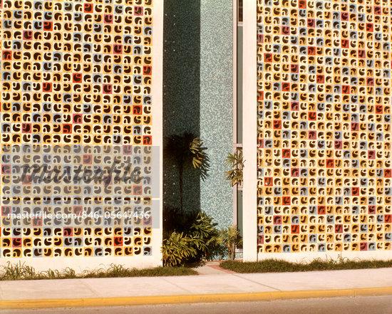1960s MODERN ARCHITECTURE PUBLIC BUILDING COLORFUL CEMENT BRICK ...
