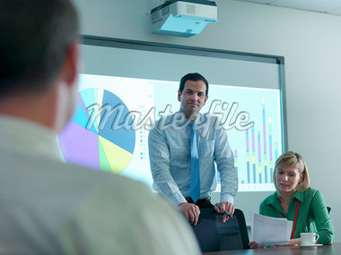 Businessman using projection in meeting Stock Photo - Premium Royalty-Freenull, Code: 649-05658061