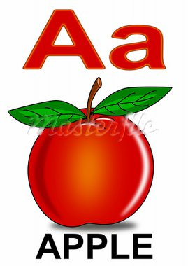 Apple fruit nature alphabet red school Stock Photo - Royalty-Free, Artist: petr73                        , Code: 400-05662851