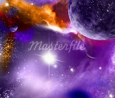 universe with planet and starse Stock Photo - Royalty-Free, Artist: nicky2342                     , Code: 400-05662901