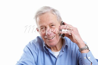 Senior man with a mobile phone on white background Stock Photo - Royalty-Free, Artist: Fotosmurf                     , Code: 400-05663245