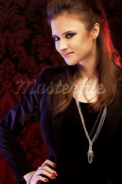 Beautiful young woman in elegant suit. Studio shooting Stock Photo - Royalty-Free, Artist: mikelaptev                    , Code: 400-05663251