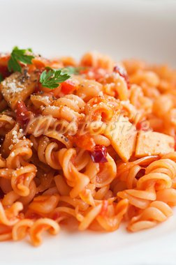 close up shot of tomato pasta Stock Photo - Royalty-Free, Artist: yuliang11                     , Code: 400-05663258