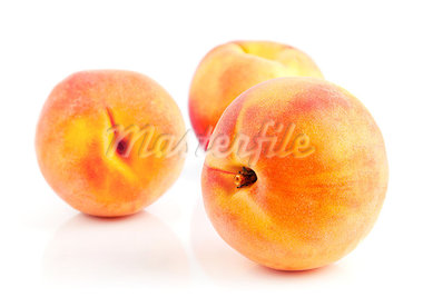 fresh peach fruits isolated on white background Stock Photo - Royalty-Free, Artist: yasonya                       , Code: 400-05664051
