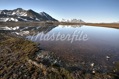 Arctic summer landscape - tundra, sea and mountains Stock Photo - Royalty-Free, Artist: erectus                       , Code: 400-05664513