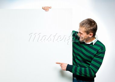 student with a white banner for your text box or text Stock Photo - Royalty-Free, Artist: GekaSkr                       , Code: 400-05665497