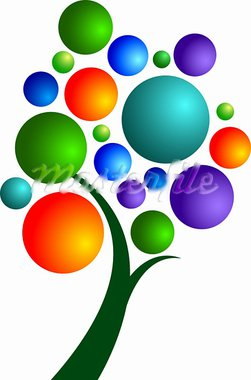 Illustration art bubbles tree with isolated background Stock Photo - Royalty-Free, Artist: designersamy                  , Code: 400-05665537