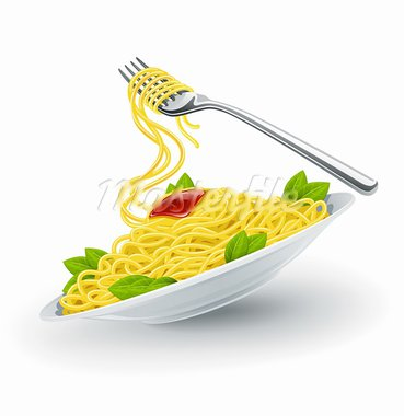 Yellow italian pasta spaghetti in the white plate with fork. Vector illustration isolated on white background Stock Photo - Royalty-Free, Artist: LoopAll                       , Code: 400-05667492