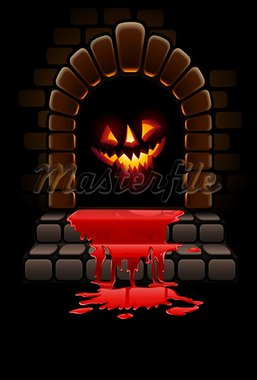 halloween terrible door bloody entrance and glowing face vector illustration Stock Photo - Royalty-Free, Artist: LoopAll                       , Code: 400-05667689