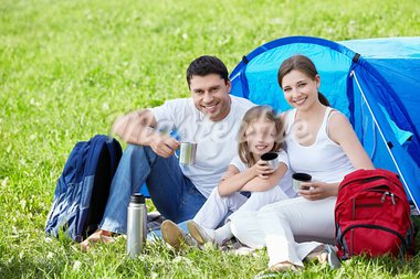 A happy family with a tent Stock Photo - Royalty-Free, Artist: Deklofenak                    , Code: 400-05668710