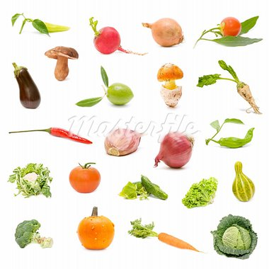 collection of fresh vegetables on white background   Stock Photo - Royalty-Free, Artist: luiscar                       , Code: 400-05668727