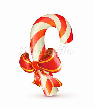 Vector illustration of shiny red Christmas candy cane with bow Stock Photo - Royalty-Free, Artist: PixelEmbargo, Code: 400-05668987