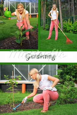 Collage. Beautiful casual woman working in garden Stock Photo - Royalty-Free, Artist: smartfoto                     , Code: 400-05669107