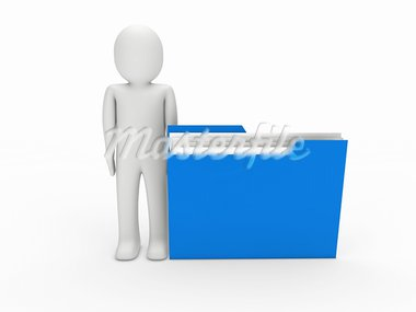 3d man file blue folder document business Stock Photo - Royalty-Free, Artist: dak                           , Code: 400-05669187