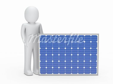 3d man solar panel blue ernergy human Stock Photo - Royalty-Free, Artist: dak                           , Code: 400-05669190