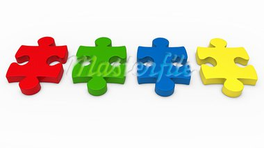 3d puzzle piece series red green blue Stock Photo - Royalty-Free, Artist: dak                           , Code: 400-05669197