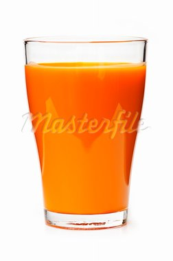 Carrot juice in clear glass isolated on white background Stock Photo - Royalty-Free, Artist: Elenathewise                  , Code: 400-05669613