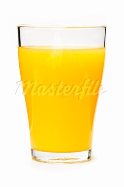 Orange juice in clear glass isolated on white background Stock Photo - Royalty-Free, Artist: Elenathewise                  , Code: 400-05669615
