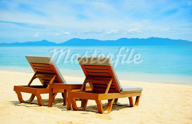 Chairs on the beach near sea Stock Photo - Royalty-Free, Artist: Vixit                         , Code: 400-05669920