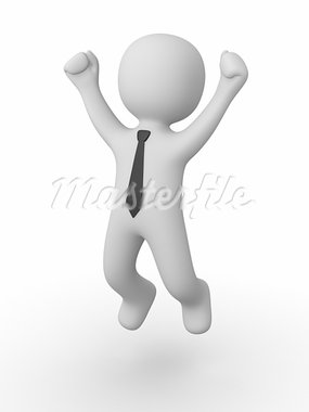 3d man jumping of happiness and success Stock Photo - Royalty-Free, Artist: Viktor88                      , Code: 400-05670251