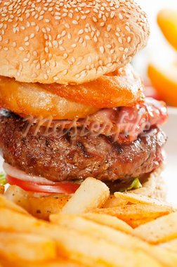 classic american hamburger sandwich with onion rings and french fries, MORE DELICIOUS FOOD ON PORTFOLIO Stock Photo - Royalty-Free, Artist: keko64                        , Code: 400-05670310