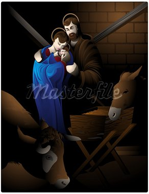 Illustration of the nativity scene with Mary, the child Jesus, San Jose, the ox and the mule. Stock Photo - Royalty-Free, Artist: porteador                     , Code: 400-05670964