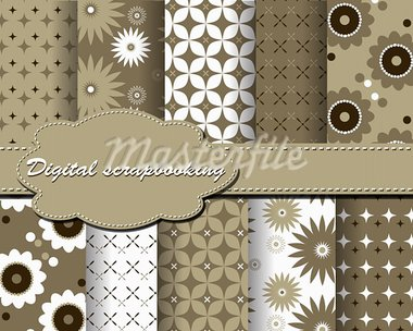 set of vector flower paper for scrapbook Stock Photo - Royalty-Free, Artist: Mary1507                      , Code: 400-05671876
