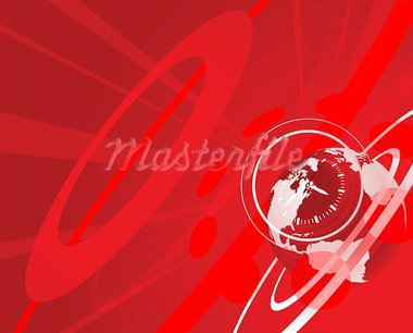 Red globe clock background illustration Stock Photo - Royalty-Free, Artist: Krisdog                       , Code: 400-05672400