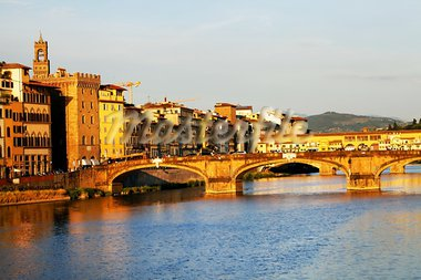 Ponte Vecchio at sunset, Florence, Italy Stock Photo - Royalty-Free, Artist: rechitansorin                 , Code: 400-05672444