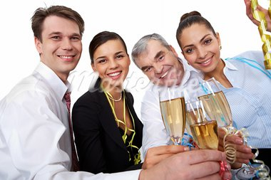 Photo of businesspeople cheering up their flutes filled with sparkling champagne Stock Photo - Royalty-Free, Artist: pressmaster                   , Code: 400-05672530