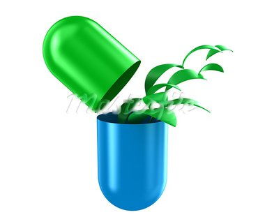 Illustration of capsule with a green leaves inside Stock Photo - Royalty-Free, Artist: FotoVika                      , Code: 400-05672773