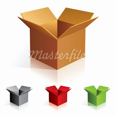 Illustraion of open color cardboard boxes. For design. Stock Photo - Royalty-Free, Artist: dvarg                         , Code: 400-05673154