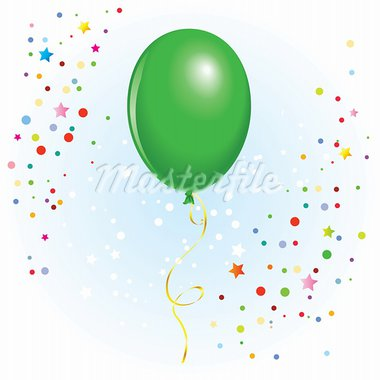Green balloon with dangling curly ribbon in vector format Stock Photo - Royalty-Free, Artist: dvarg                         , Code: 400-05673166