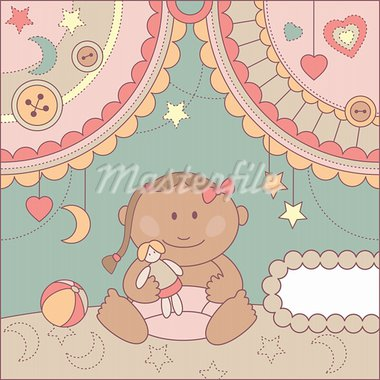 vector cute baby girl arrival card illustration Stock Photo - Royalty-Free, Artist: SelenaMay                     , Code: 400-05673284