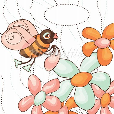 vector cute bee collects nectar from flowers Stock Photo - Royalty-Free, Artist: SelenaMay                     , Code: 400-05673340