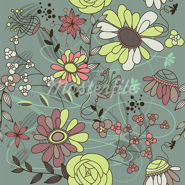 abstract seamless background with flowers vector illustration Stock Photo - Royalty-Free, Artist: SelenaMay                     , Code: 400-05673454