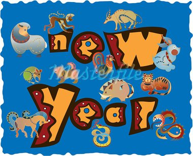 animal  icons of new year Stock Photo - Royalty-Free, Artist: araraadt                      , Code: 400-05673752