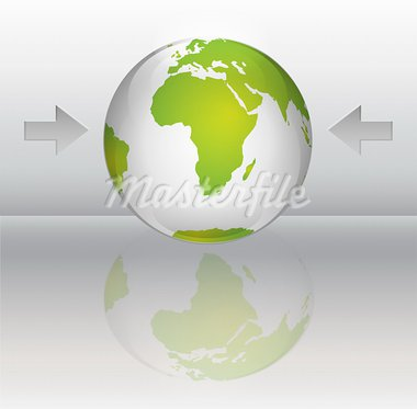 Glossy planet with green continents and reflection Stock Photo - Royalty-Free, Artist: TheModernCanvas               , Code: 400-05674032