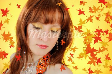 Beautiful autumn fairy woman with golden make-up. falling leaves background Stock Photo - Royalty-Free, Artist: smartfoto                     , Code: 400-05674570